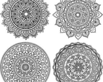Hand Drawn Mandala Coloring Page - SET OF 4 - Downloadable PDF A4/Letter