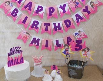 supergirl banner - superhero girl banner - supergirl birthday - supergirl party - supergirl party decor - super girl birthday