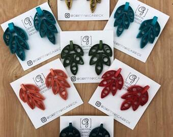 Earrings / Paper Earrings / Quilled Earrings / Leaf Earrings