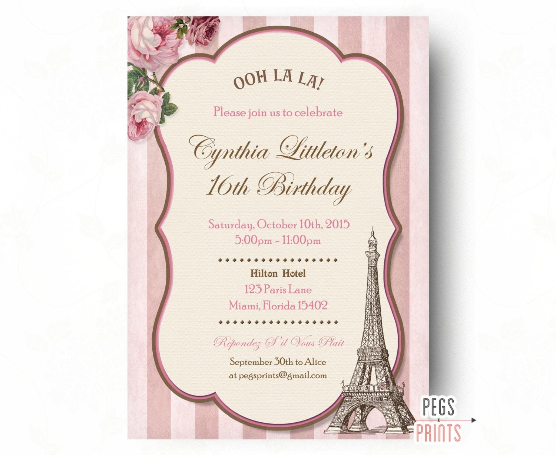 Paris Sweet 16 Birthday Invitations Printable Sweet Sixteen