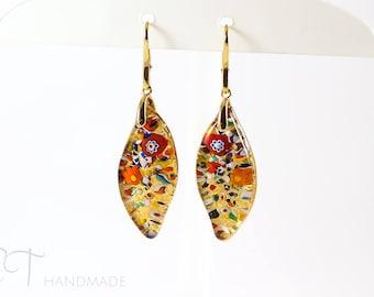 Murano glass gold leaf earrings - Romantic earrings - Murano earrings