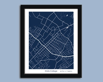 State College map, State College city map art, State College wall art poster, State College decorative map