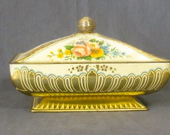Vintage Tin Container Baret Ware, Art Grace Tin Container, Gold Tin Container, Floral Tin Container