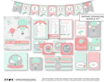 Hot Air Balloon Baby Shower, INSTANT DOWNLOAD Party Kit, Welcome Baby Banner, Baby Shower Games, Travel Shower Decor, Mint and Coral, #A3