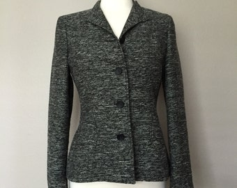 Italian Black/Grey Blazer 'Zanella' (Size 8- Med)//Tailored Fit- Button Front (Reduced)