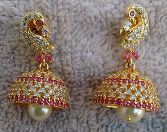 One gram gold earrings, jumka, cz jumka,one of a kind, wedding gift