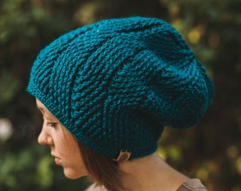Patterned Beanie--Teal