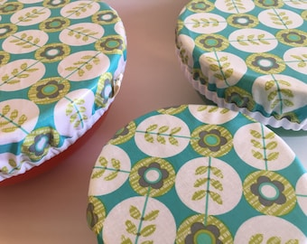 Zero Waste, Laminated Bowl Covers, Laminated Cotton, Washable, Retro, Hostess Gift, Housewarming Gift, Bowls, Eco Friendly, Waterproof