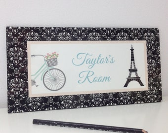 Spring SALE Eiffel Tower In Black And White Damask Pattern Door Sign Paris  Bedroom