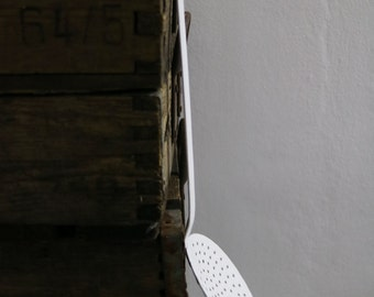 Vintage ladle, enamel, white