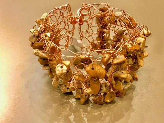 SJC10139 - Handmade copper wire brown crochet cuff bracelet with jasper gemstone chips