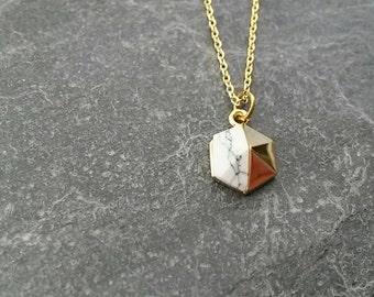 Geometric Necklace/White Turquoise Hexagonal Pendant/Pyramid Pendant Necklace/Geometric Charm/Modern/White Turquoise Gemstone/Gold Plated