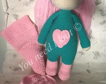Lalylala doll / mermaid doll / bear doll/ 3 in one doll / crochet mermaid doll / crochet bear doll / crochet  lalylala doll / handmade doll