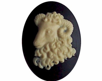 Aries 40x30 Resin Zodiac Cameo Aries cabochon the Ram Black sheep jewelry astrology horoscope or farm animal jewelry 555x