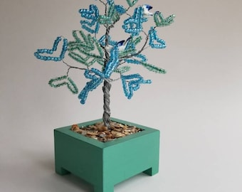 Blue heart wire tree sculpture / bead tree / wire tree / tree of life sculpture / fairy tree / tree of life art / tree of life / gift