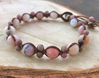 Pink Opal Bracelet - Blush Bracelet - Opal Bracelet - Macrame Bracelet - Pink Yoga Bracelet - Opal Jewelry - Macrame Jewelry -Beaded Macrame