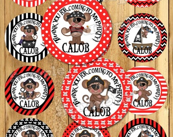 Pirate Birthday stickers Party favor tag Thank you tags Gift tag Cupcake toppers Birthday stickers Boy monkey Birthday Party Custom PRINTED