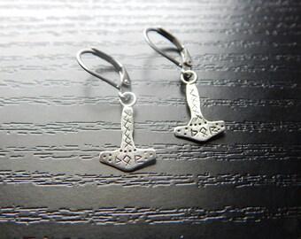 Thor's Hammer Silver Earrings