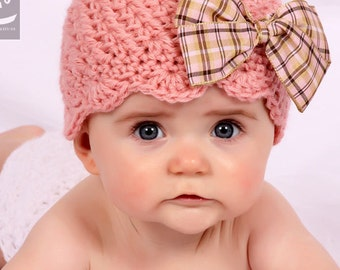 Crochet PATTERN Sweet Scalloped Beanie Includes Sizes Newborn to Adult