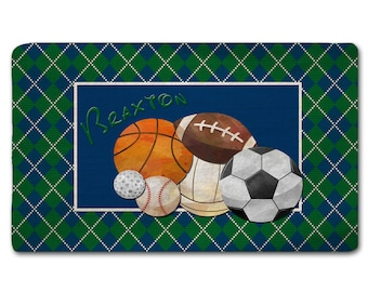 Custom Personalize Argyle and Sports Ball Plush Fuzzy Area Rug - Size 48x30, 60x48 96x44, and 96x60 inches