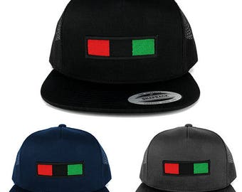 5 Panel Africa Red Black Green Embroidered Iron on Patch Flat Bill Mesh Snapback (6006-AFRICA-30)