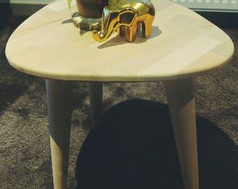 Wooden beech serving table type Scandinavian feet compass