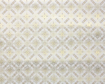 1950s Vintage Wallpaper by the Yard - Metallic Gold Geometric on White