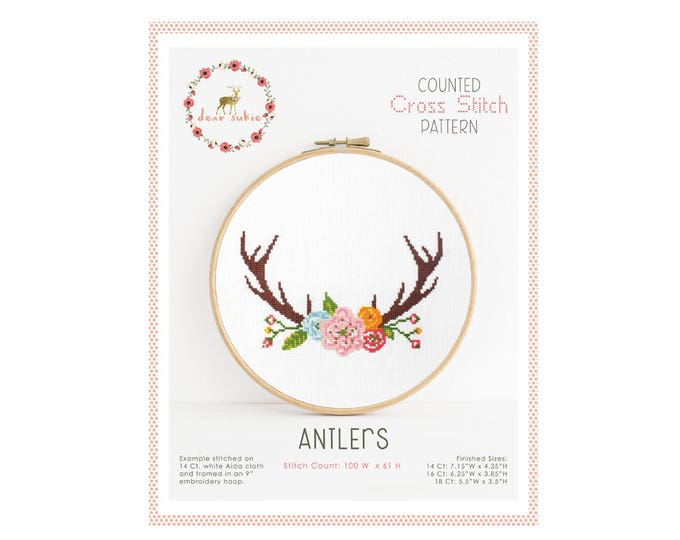 Counted Cross Stitch Pattern - Antlers / boho cross stitch, diy, how-to, embroidery, pattern, gift, supply, instruction, flower, floral