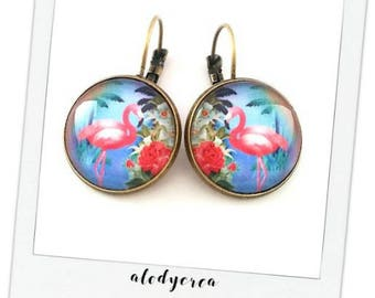 """tropical"" pink Flamingo • • cabochon bronze earrings"