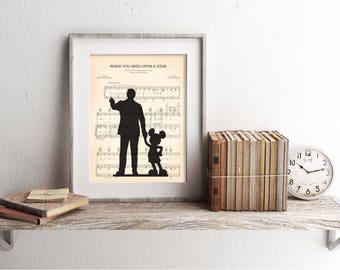 Walt Disney and Mickey Mouse Partners When You Wish Upon A Star Sheet Music Art Print