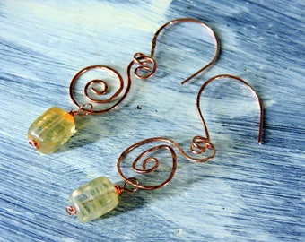 Solid Copper Swirl Earrings with Quartz Drops, spiral,  hand formed and hammered, artsy, wire wrapped, large, tribal, textured, casual