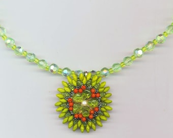 Beadwoven Peridot Necklace . Peridot Green & Red Floral Necklace . Statement Necklace - Christmas Holiday Necklace by enchantedbeads on Etsy