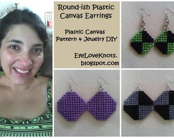 Plastic Canvas Pattern & Jewelry Tutorial - Roundish Plastic Canvas Earrings - Easy Needlepoint - Easy Jewelry DIY - Easy Sewing - PDF