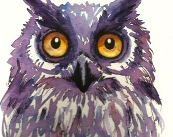 "Art Original Watercolor Animals Pets  ""OWL"""