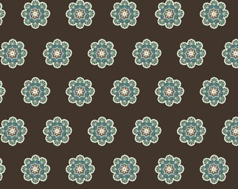 Uptown Duets, Flowers on Brown, Tarnished Teal Collection, Faye Burgos for Marcus Fabrics, 100% Cotton, by the Yard or Half Yard, 2105-0158