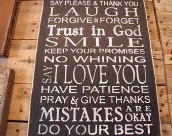 BE honest etc sign
