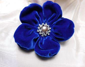 Blue Velvet Puffy Ribbon Flower Applique