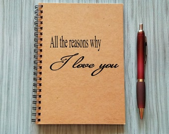 Journal, All the reasons why I love you, Couples Journal - 5 x 7 Journal, Love Diary, Love Journal, Couples Scrapbook, I love you because