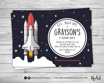 Space Shuttle Birthday Invitation - Spaceship Birthday Invite - Space Party - Astronaut Birthday Invitation - Rocket NASA Digital File PDF