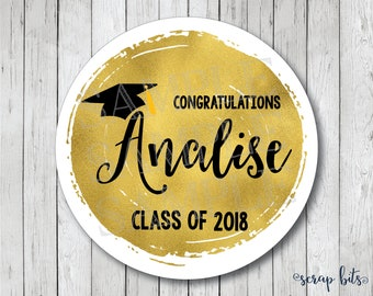 Personalized Faux Gold Foil Graduation Stickers, Class of 2018 Stickers, Graduation Tags, Graduation Labels