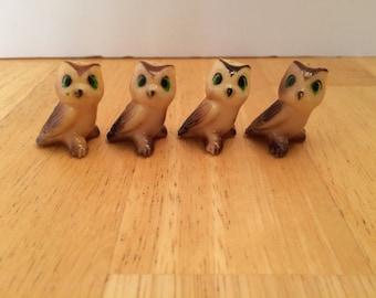 Vintage Plastic Owls, Set of 4, Rare, plastic owls, vintage owls, plastic toys, vintage toys, kitsch, babycam, pretend play, plastic animal