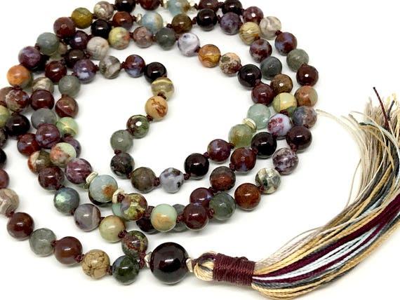 Root Chakra Mala Beads - Garnet Mala - Labradorite Necklace - Aquamarine Mala Beads - Grounding Jewelry - Agate Necklace, Tassel Necklace