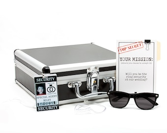 Ring Security Briefcase for Ring Bearer - Includes Ask Card, ID Badge, Ear Piece, Sunglasses & Coloring Book Set  **Limited edition**