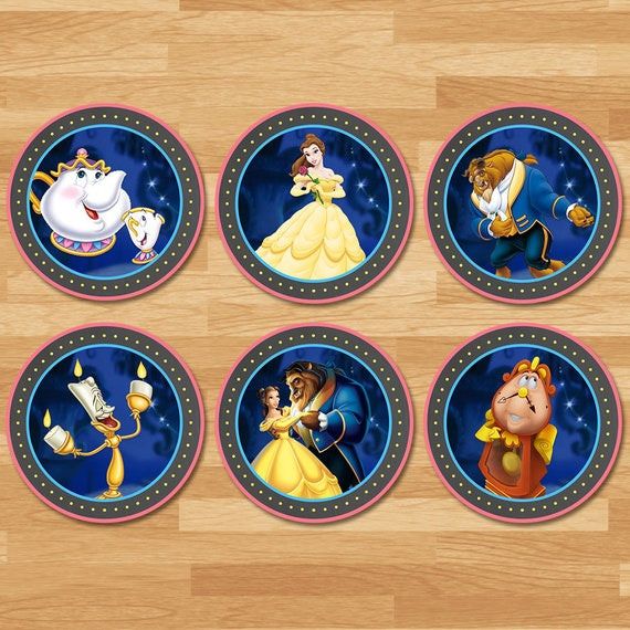 Beauty and the Beast Cupcake Toppers - Chalkboard - Disney Princess Stickers - Princess Belle Topper - Beauty and Beast Party Printables