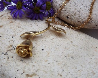 3D Rose Charm Necklace in Gold Plate (Style 39)