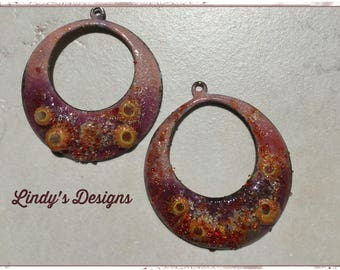 Shades of Pink Large Circle Hoop Enamel Charms