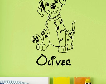 Personalized Name Decal Dalmatian Wall Sticker Vinyl Art Disney Decorations for Home Kids Boys Room Bedroom Nursery Custom Decor dlm3