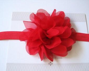Red Chiffon Baby Headband, Infant Headbands, Baby Girl Headbands, Infant Bows, Baby Bows, Newborn Headbands