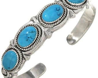Turquoise Silver Navajo Cuff Sterling Bracelet Native American Jewelry