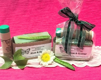 Clover Spa Gift Set, Aloe Clover, Aloe Spa Gift Set, natural spa gift set, womens spa gift set, teen spa gift set, soap gift set, bath gift